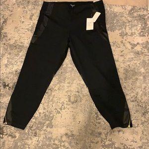 Black Sport leggings w/opaque mesh & gold zippers